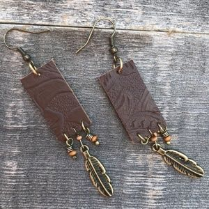 Brown Imitation Leather & Feather Earrings